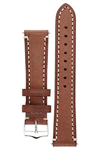 Signature Father oak 22 mm extra-long watch band. Replacement watch strap. Genuine Leather. Silver buckle (Extra Long Watch Band compare prices)