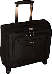 Kemyer 16 Inch Rolling Laptop Overnighter - Underseater Spinner Wheeled Computer Briefcase - Black