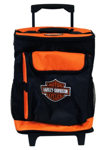 Black and Orange Harley Davidson Rolling Travel Cooler Ice Chest