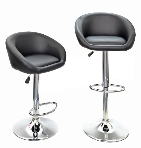 1 x bar stool upholstered bar chair club bar Chair faux leather black with chrome and footrest