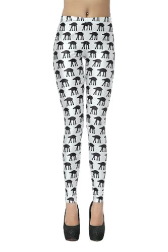 TM Women's AT-AT Chewie and Han star wars Stretch Printed Legging Tight Pant