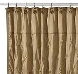 Crystal Bell Iridescent Olive Green Faux Silk Fabric Shower Curtain