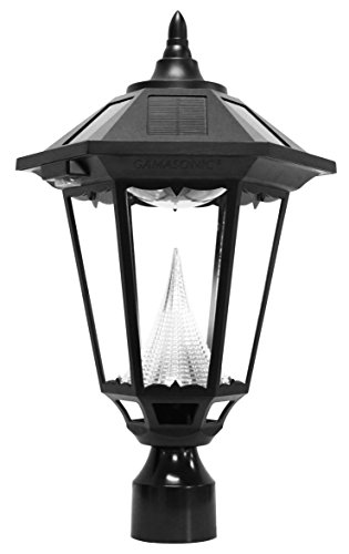 Gama Sonic Manufacturer-Refurbished Windsor Solar Outdoor Led Light Fixture With 3-Inch Fitter For Post Mount, Black Finish
