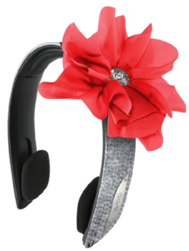 Ihip Snooki Couture 2-In-1Fashion/Stylish Printed Detachable Headband Headphones (Silver/Red)