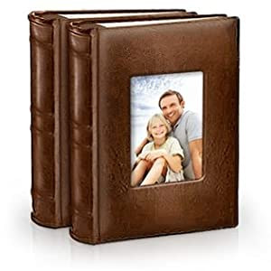2-Pack Bonded Leather Photo Album Holds 300 Photos Each - Brown