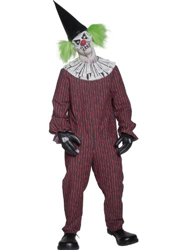Smiffy's Men's Cirque Sinister Twisted Clown Costume Jumpsuit Mask and Hat Glove