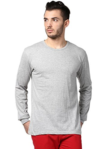 Inkovy Men's Roundneck Neck Full Sleeve Cotton T-Shirt [Grey_Large]