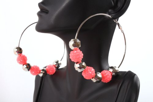 Neon Pink Shamballah 2.5 Inch Hoop Earrings with 3 Disco Balls and 4 Plated Balls Basketball Mob Wives Iced Out Lady Gaga Poparazzi