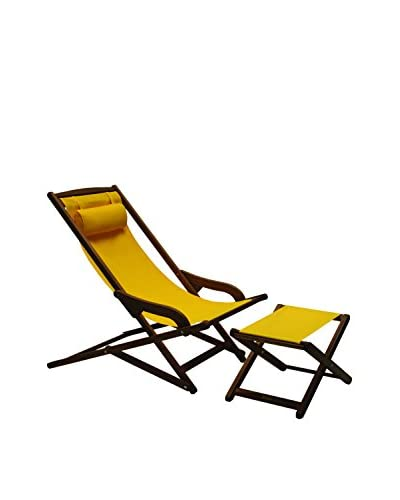 Outdoor Interiors Eucalyptus Sunbrella Swing Lounger with Ottoman, Brown/Sunflower