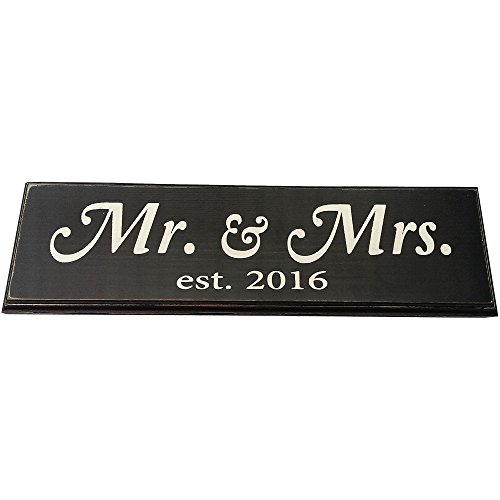 Mr & Mrs Est. 2016 Vintage Wood Sign for Wedding Decoration, Prop, Gift or Wall Decor -- PERFECT WEDDING GIFT! (Black - Large - Cursive)