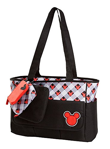 Disney Mickey Plaid Tote with Matching Zip Pouches, Red/Black - 1