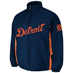 Detroit Tigers Navy Authentic Double Climate On-Field Jacket by Majestic by Majestic