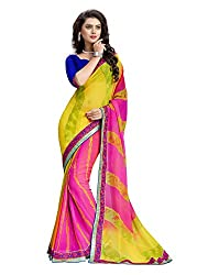 RUDDHI WOMEN'S DESIGNER PINK & YELLOW FASHION GEORGETTE SAREE