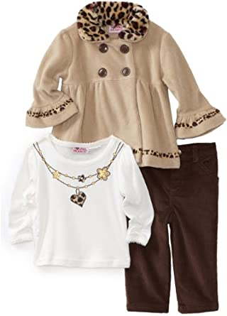 Young Hearts Baby-Girls Infant Leopard Fleece Set, Brown, 18 Months