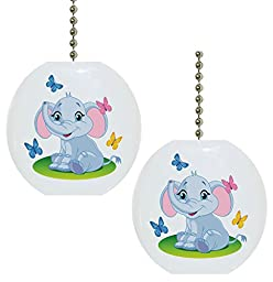 Set of 2 Baby Elephant Butterflies Solid Ceramic Fan Pulls