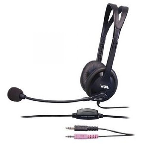 Cyber Acoustics 7Ft Stereo Headset W/ Boom Mic Cord Noise Cancel Mute 3.5Mm / Ac-400Mv /