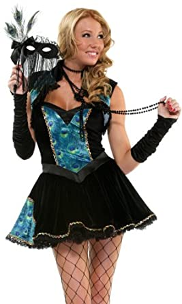 Forplay Women's Peacock Masquerade Adult Sized Costumes, Black, X-Small