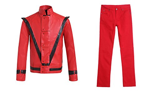 F&C Michael Jackson Adult Deluxe Red Thriller Jacket Trousers 2 Piece Set Costume
