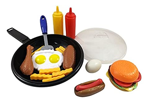 25 Piece ^^ Liberty Imports Fast Food Cooking Pan Kitchen Play Food Set for Kids // Cheese Burger, Hotdog, Chicken, & more //