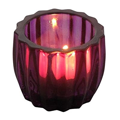 Glass Chunky Ribbed Candle Pot Holder 7cm X 6cm - Purple from Crystal Edge Ltd