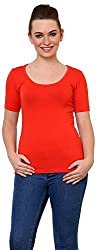 Finesse Women's Regular Fit Top (FHSCLT03, Red, Large)