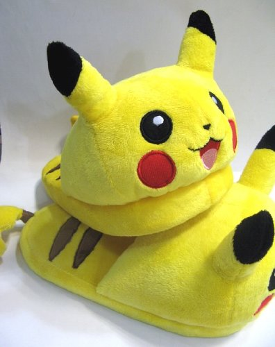 Plush Pikachu House Slippers