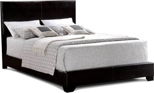 New Arrival Black Finish California King Size Bi Cast Leather Platform Bed S