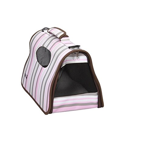 Pet Life Folding Cage Striped Pet Carrier Md