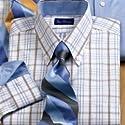 Trim Fit Pinpoint Oxford Check Button Cuff Dress Shirt