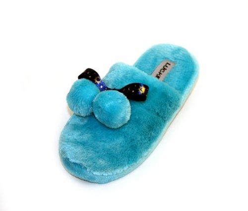 Cheap Luckers Women's Blue Bow Slippers (B008OLN3EC)