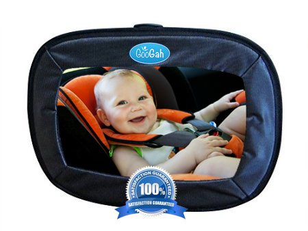Googah Baby Car Mirror Extra Large, Soft Touch, Shatterproof, Easy Installation Infant Car Seat Mirror With First Baby Tips eBOOK-  Great New Mom Gift and Baby Shower Ideas - 1