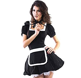Amazon.com: Women Halloween Costumes French Maid Costume Midnight Maid Costumes: Clothing