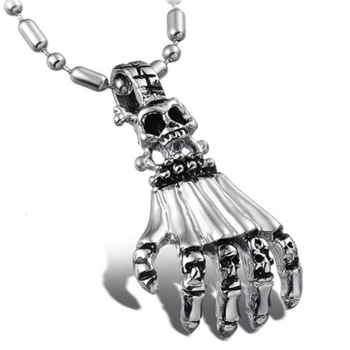 Chaomingzhen Vintage Stainless Steel Skull Hand Pendant Necklace for Men Fashion Jewellery for Him Punk and Gothic Style with Chain 19.5