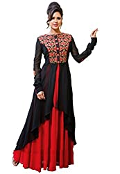 Mandani Fashion women's Fuax Georgette Party Wear Unstitched dress material(SF278_Black And Red color)
