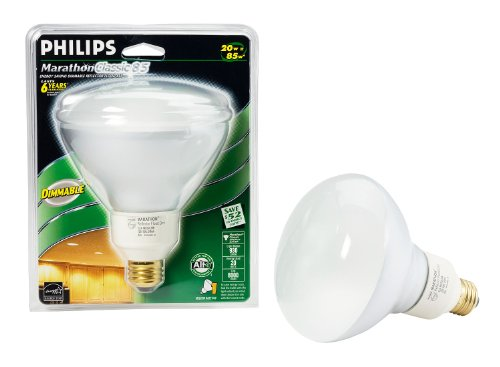 Philips 150425 Energy Saver Compact Fluorescent 20-Watt R40 Flood Light Bulb, Dimmable