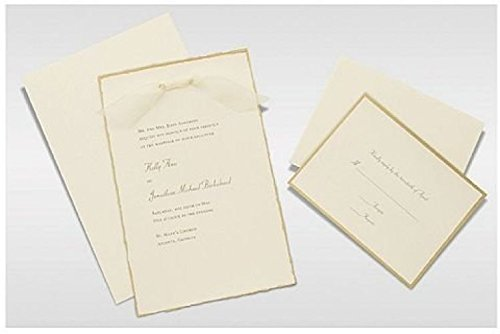 Gartner Studios Invite Kit, Ivory Gold Deckled Edge, 50-Count (61405) ;P#H54E154 2345TSW250826 Gold Deckled Invitation Kit