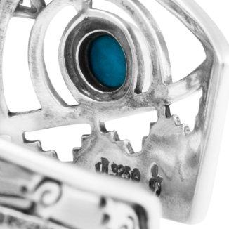 Fritz Casuse Sterling Silver Multi Gemstone Hummingbird Cuff Bracelet