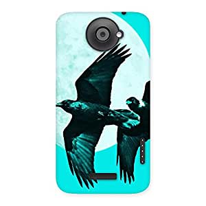 Stylish Raven Cyan Back Case Cover for HTC One X