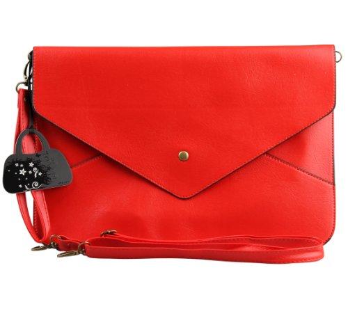 Eabag Women Envelope Clutch Chain Purse Case Shoulder Bag (Red)