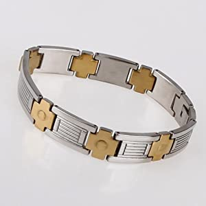 Gold Cross Plated High Polished Stainless Steel Link Bracelet For Men With Gift Box Jb1009 from FashionOn
