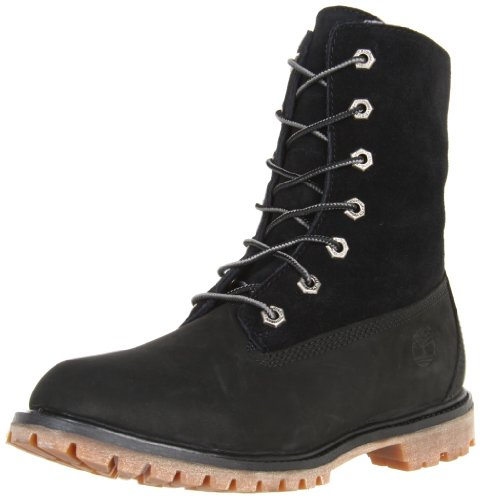 Timberland Women's Authentics Fleece Boot,Black,8.5