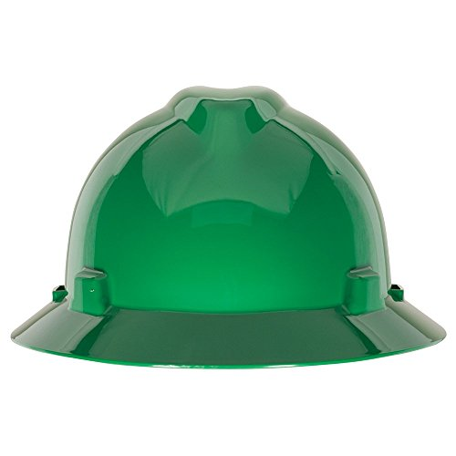 MSA 475370 V-Gard Slotted Full-Brim Protective Hat with Fas-Trac Suspension, Green (Msa Hard Hat Full Brim compare prices)