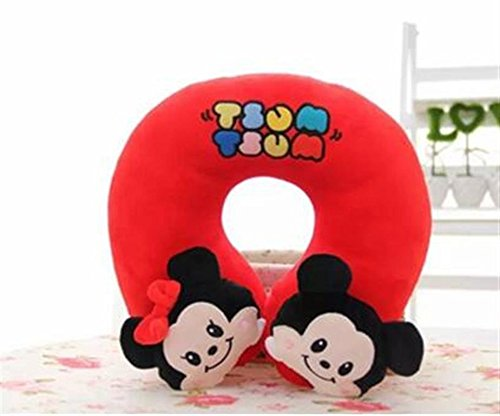 Finex® Tsum Tsum Plushies U-shaped Travel Neck Pillow - Cute Soft Comfy cushion pillows (Red Mickey & Minnie Mouse) (Minnie Mouse Car Seat Belt Cover compare prices)