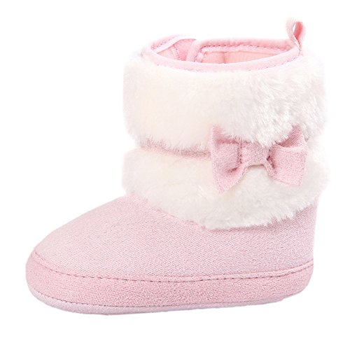 Baby Girls Solid Plush Patchwork Bows Mid Culf Snow Boots Crib Shoes Pink 6-12 Months