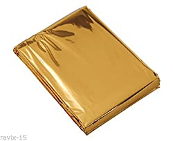GOLDEN EMERGENCY BLANKET, SURVIVAL KIT, RESCUE BLANKET, SUNSCREEN PROTECT