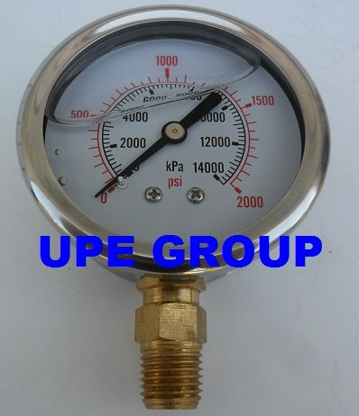 """New Stainless Steel Liquid Filled Pressure Gauge Wog Water Oil Gas 0 To 2000 Psi Lower Mount 0-2000 Psi 1/4"""" Npt 2.5"""" Face Dial For Compressor Hydraulic Air Tank"""
