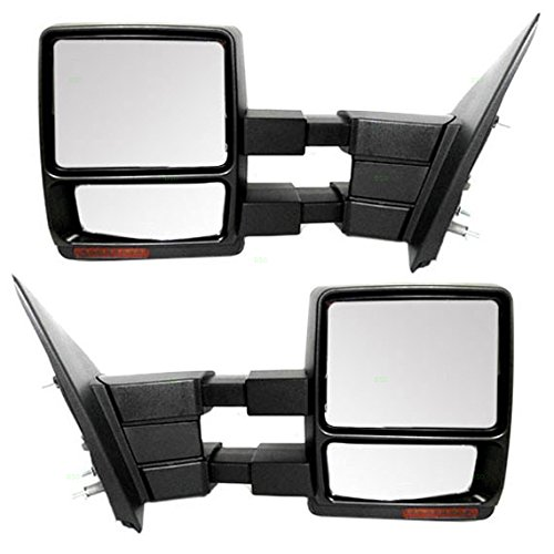 Driver and Passenger Power Side Tow Mirrors Heated Signal Puddle Lamp Replacement for Ford Pickup Truck 7L3Z17683AE 7L3Z17682AE (2011 F150 Tow Mirrors compare prices)