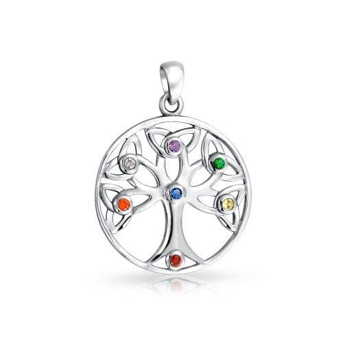 Bling Jewelry 925 Sterling Silver Birthstone CZ aperta Tree of Life Ciondolo
