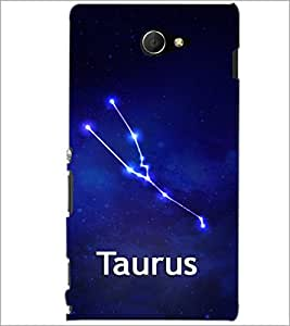 PrintDhaba Zodiac Taurus D-4840 Back Case Cover for SONY XPERIA M2 (Multi-Coloured)