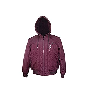 Zity Men's Fit Hooded PU Faux Leather Zipper Nylon Warm Jacket Wine Large